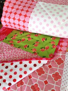 Strawberry and pink polka-dots baby quilt / wall hanging on Etsy, $88.00