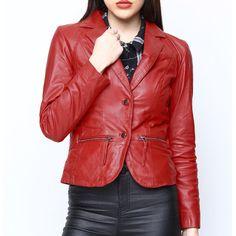 World Of Leather Women's Lambskin Genuine Leather Jacket Short Blazer Stylish (XS, Red) Leather Jacket With Hood, Lambskin Leather Jacket, Red Leather, Cheap Clothes, Clothes For Women, Leather Store, Blazer And Shorts, Hooded Jacket, Fashion Outfits