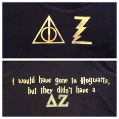 Delta Zeta Harry Potter tank tops with the deathly hallows designed by Madison Herbart and Blade Graphics