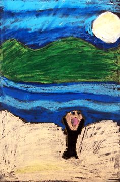 """Scream, 2007 (Age Pastel on paper 18 by 24 inches My rendition of Edvard Munch's """"The Scream"""" from showing an understanding of landscape foreg. Apple Model, Edvard Munch, Shutter Speed, Scream, 1940s, Color Schemes, Grass, Pastel, Photoshop"""