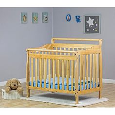 Dream on Me - 3-in-1 Fixed-Side Portable Convertible Crib, Natural