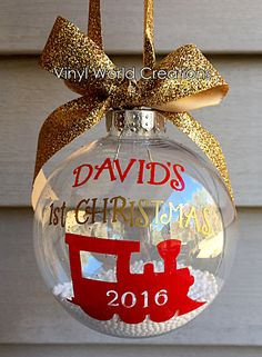 Christmas Ornament for baby boy, boy's ornament, baby's first Christmas ornament, baby's second Christmas ornament, childs third christmas by VinylWorldCreations on Etsy