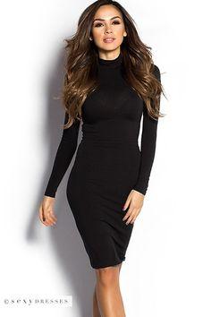 Black Long Sleeve Bodycon Turtleneck Knee Length Dress #PinYourWish @shopsexydresses