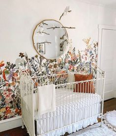 This beautiful baby room features Bratt Decor's venetian crib in white and a field of wild flowers! The round gold mirror adds balance! Iron Crib, Floral Nursery, Dream Baby, Baby Furniture, Baby Cribs, Beautiful Babies, Girl Nursery, Cottage Style, Venetian
