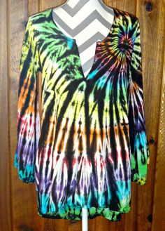 Rainbow Black High Low Tunic Top Cover-up Bell 3/4 Sleeve Tie Dye Rayon Blouse #LocalCelebrity #Tunic #Casual