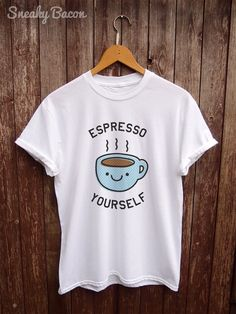 Fun coffee T shirt Blue coffee addict shirt by SneakyBaconTees