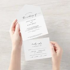 Modern Script Wedding All In One Invite in a simple white and black design featuring unique industrial lettering typography for a bohemian style wedding. Click to customize with your personalized details today.