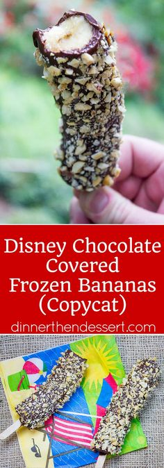 Disney Chocolate Covered Frozen Bananas are a popular treat inside the parks, at amusement parks and beaches across the world. Frozen Bananas dipped in melted homemade chocolate magic shell and covered in peanuts. The perfect slightly healthy treat!