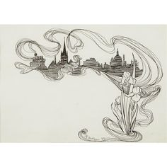 Artwork by Arthur Rackham, ROOFTOP SILHOUETTE AND IRISES, Made of Ink on paper