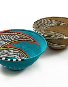 This set of blue and brown scoobie bowls are made from telephone wire by an empowerment group outside Durban, South Africa. Purchase them from www.wave2africa.com