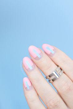 Futuristic Rose Quartz nails. HOW-TO: http://sonailicious.com/futuristic-rose-quartz-nails-tutorial/