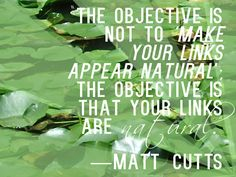 """""""The objective is not to 'make your links appear natural'; the objective is that your links are natural."""" — Matt Cutts"""