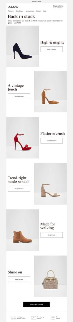 Aldo email Layout Online, Email Design Inspiration, Suede Sandals, Aldo, Layout Design, Shopping, Color, Women, Blue Prints