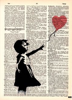 "Dictionary Art Print, Vintage art, Drawing, print poster,kids decor,wall decor,Office decor,Home & Living,""Admiration for Banksy"""