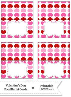 Red and Pink Hearts Food Labels from PrintableTreats.com