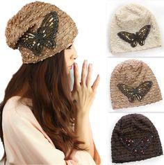 Cheap Mariposa Beanie mujer Caps otoño sombreros de invierno para mujer  punto lentejuelas moda Casual gorros 698b94ba14b