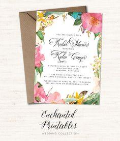 Printable Bridal Shower Invitation, Rustic Spring Bridal Shower Invite, Rustic Watercolor Floral Bridal Shower Invitation, Wedding Shower by enchantedprintables on Etsy https://www.etsy.com/listing/224944326/printable-bridal-shower-invitation