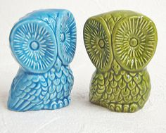 $16.00 Ceramic Owls Vintage Design Wide Eyed