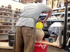 Slippin a vase - YouTube  Using a balloon to plug the vase opening.  **Mute this!**  There's no commentary and he's got music playing but it's time lapsed so it sounds like the Chipmunks on speed.