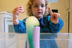 kid project, Dry Ice Experiment (soap and food coloring)