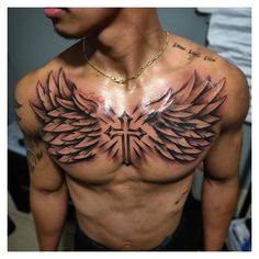 Small Chest Tattoos, Chest Piece Tattoos, Chest Tattoos For Women, Pieces Tattoo, Cool Tattoos For Guys, Chest Tattoo Wings, Best Chest Tattoos, Chest Tattoo Clouds, Cross Tattoo For Men