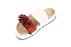 double band raffia with red fringes Fringes, Slippers, Ss 17, Band, Fashion, Moda, Bangs, Sneakers, Sash