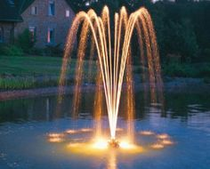color fountains are modern yard decorations for attractive backyard landscaping