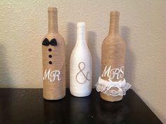Mr & Mrs twine wine bottles by NorthwestdesignsbyHH on Etsy, $35.00