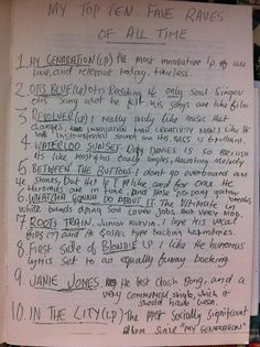 From the pen of a 19 year old Paul Weller and his 'top ten fave raves of all time'. Circa 1977. The Who. The Kinks. The Clash. Rubber Soul. Blondie. Junior Murvin, etc. My personal favorite quote 'no poxy guitar breaks' - haha.