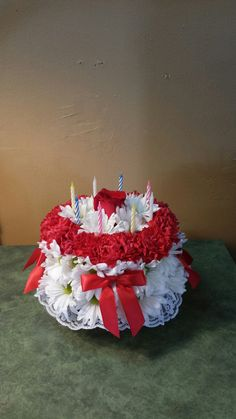 Birthday cake made with flowers!