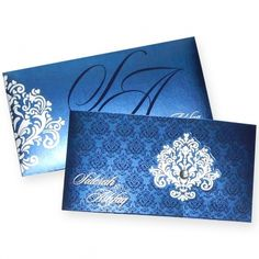 Beautiful Blue Themed Indian wedding card at The Wedding Cards Online