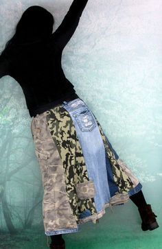 Camo military denim patchwork skirt. Made from recycled clothing. Remade, reused and upcycled. Military style. Very useful and comfortable. Hippie boho. One of a kind. Size: M-L (european 38-40) you can wear it on waist level or hips level and regulate with belt. Uper line (belt) (waist