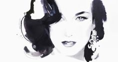 "• my alternacaption: "" Diane's Black-Violet Heart ""; • original pin's info: David Downton's 'Dita von Teese'"