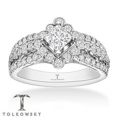 Tolkowsky Engagement Ring 1-1/4 ct tw Diamonds 14K White Gold