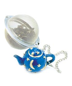 Mesh Tea Ball & Teapot Weight by Norpro  this infuser features a spherical silhouette and chain that's perfect for swirling. The perforated metal compartment works to neatly contain loose tea leaves for versatile use. Plus, an adorable blue teapot-shaped weight keeps the infuser in place and makes it easy to remove.  2'' W x 2'' H x 1.25'' D   Stainless steel   Hand wash  on #zulily 4/2/13