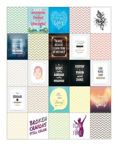 Free Printable-Inspirational Quote & Chevron Planner Sticker Sheet