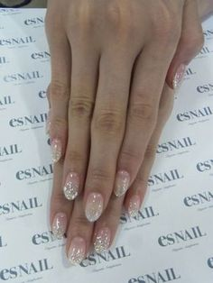 Almond nails. Glitter tips