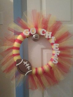 Check out this item in my Etsy shop https://www.etsy.com/listing/203368539/nfl-kansas-city-chiefs-tulle-wreath
