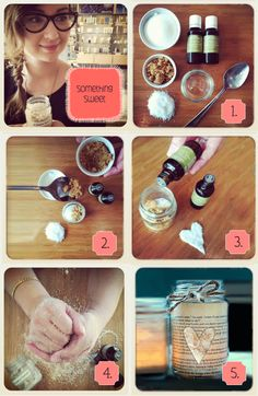 DIY body scrub All you need is:   Emptied, clean and dry standard sized baby food jar.  1/4 cup confectioner's sugar  1/4 cup brown sugar  1/4 Aveda Soothing Aqua Therapy  12 drops of your favorite Essential Oil steps: 1.Combine sugar, brown sugar and aqua therapy in the jar and give it a stir 2.Add Essential Oil 3.Stir with a spoon, secure the lid   4.Done! Ready to scrub!