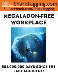 Via @WhySharksMatter: Our lab @rj_dunlap is a  #Megalodon free workplace. Hooray for lab safety! #SharkWeek