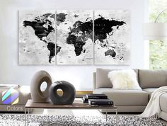 "LARGE 30""x 60"" 3 Panels Art Canvas Print Watercolor Map World Push Pin Travel cities Wall Black & White Gray decor Home  (framed 1.5"" depth)"