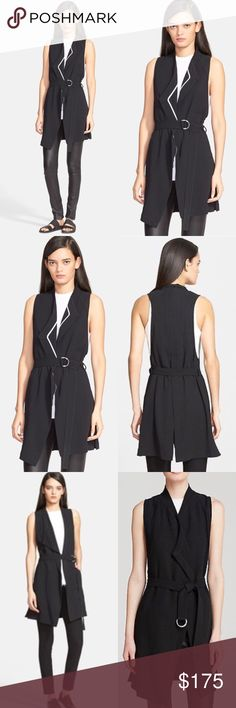 HELMUT LANG 'Torsion' Long Vest A long vest with a draped open front, deep armholes and center-split back adds instant edge to any outfit. Style it loose and open or gently cinched by a D-ring buckled sash. Worn about 4 times; excellent condition. Size is P but fits just like a regular XS or S (size 0-2). Can be worn so many ways and in all seasons - layered over a sweater in the winter or a tank for keeping it professional in the summer! Will add pics soon! - 95% viscose 5% elastane - made…