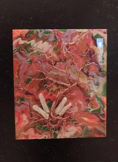 visual-art | PAINTINGS  This abstract is on a 11 x 13 inch panel with wire, crystals set in resin.  It is nicely displayed on a 16 x 20 inch gallery wood panel to give it a professional touch. Resin Art done by Sherry Turner