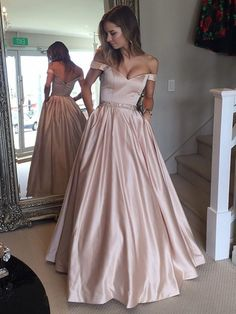 On Sale Admirable Pink Prom Dress A-line Off-the-Shoulder Waist Beaded Satin Long Prom Dresses, Formal Dresses UK, Baby Pink Prom Dresses, Bridesmaid Dresses Plus Size, Long Prom Gowns, Ball Gowns Prom, A Line Prom Dresses, Prom Dresses Online, Cheap Prom Dresses, Ball Dresses, Dress Long