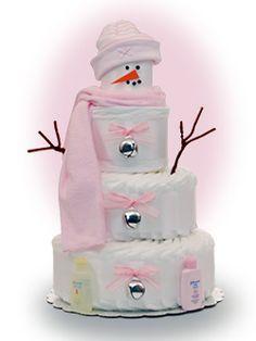 I love snowmen, what a great idea for a diaper cake.