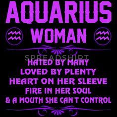 Aquarius Woman Heart Sleeve Fire Soul Zodiac Shirt - Women's Premium T-Shirt