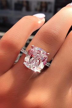 Wedding Jewelry Certified Big Cushion Diamond Solitaire Engagement Ring in White Gold Budget Friendly Engagement Rings, Engagement Rings Under 1000, Dream Engagement Rings, Solitaire Engagement, Pink Diamond Engagement Ring, Pink Diamond Ring, Pink Diamonds, Coloured Engagement Rings, Diamond Jewelry