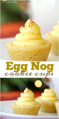 Egg nog cookie cups are so fun! Make them any flavor your want but this is a great Christmas dessert that is easy to do and the kids love them! via @thetypicalmom