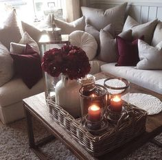 Like the gray and then hint of maroon Cheap DIY Projects For Your Home Decoration 38 Airy Beach Home Decor Ideas Cute Living Room, Living Room Decor Cozy, Living Room Accents, Living Room Grey, Bedroom Decor, Living Rooms, Maroon Room, Burgundy Living Room, Burgundy Bedroom