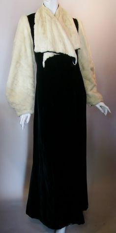 1930s black velvet opera coat with ermine fur, deco design scarf collar and full sleeves, DCV archives
